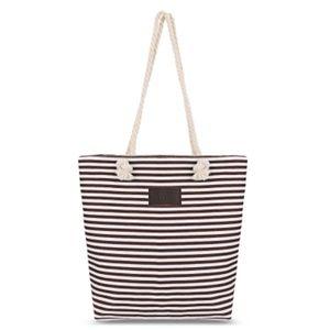 Handbags - Brown & White Striped Canvas Tote Shoulder Bag